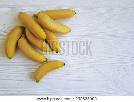 Ripe Bananas On White Wooden  Breakfast, Color, Ingredient, Dessert, Board, Nutrient