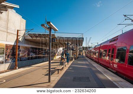 Copenhagen Denmark - March 17. 2018: Train At Carlsberg Local Train Station In Denmark