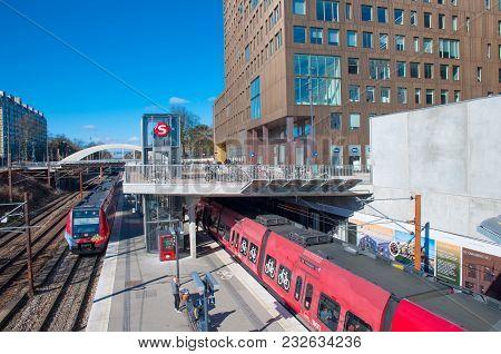 Copenhagen Denmark - March 17. 2018: Trains At Carlsberg Local Train Station In Denmark