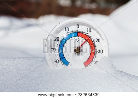 Thermometer with celsius scale in melting snow showing plus 13 degree temperature warm spring weather or global warming concept