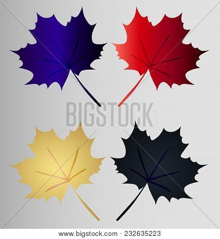 Set Maple Leaf - Four Maple Leaves Art Gradient On A Gray Background. Bright Silhouette Of A Maple L