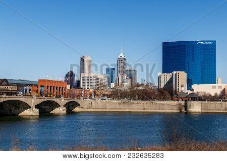 Indianapolis - Circa March 2018: Indianapolis - Circa March 2018: Indy Downtown Skyline On A Sunny D