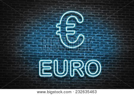 Blue Neon Euro Sign, In Old Brick Wall