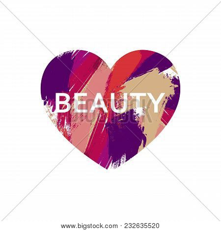 Beauty Logo Concept Design. Brush Colorful Strokes In Heart Frame. Makeup Artist Or Studio Logo Desi