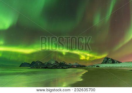 Aurora Borealis Reflected In The Sea On Myrland Beach, Lofoten, Norway