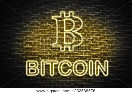 Yellow Bitcoin Neon Wall Sign, Cryptocurrency Economy