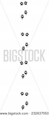 Polecat Tracks. Typical Footprints With Long Claws - Isolated Black Icon Vector Illustration On Whit