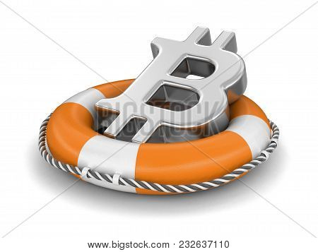 3d Illustration. Bitcoin Sign On Lifebuoy. Image With Clipping Path