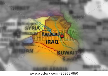 Iraq, Officially Known As The Republic Of Iraq  (black And White Selective Focus).