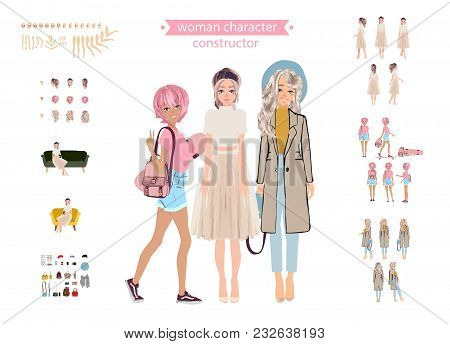 Set Vector Person. Girlfriends.cartoon Animated Personas.animate Woman Character