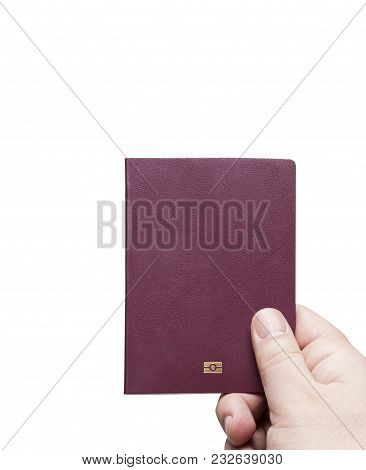 Concept Of Red Burgundy Passport Cover Isolated On White Background