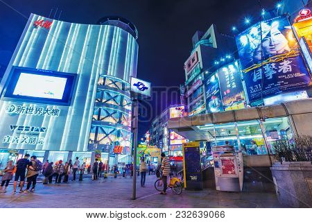Taipei, Taiwan - April 18: This Is Ximen Shopping District A Popular Shopping Area Where Many People