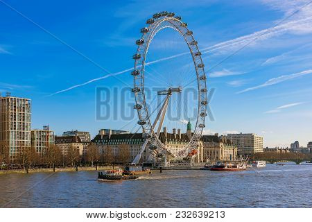 London, United Kingdom - February 16: View Of The London Eye, A Famous Ferris Wheel And Popular Tour
