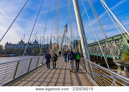 London, United Kingdom - February 16: This Is Hungerford Bridge A Modern Footbridge In The Downtown
