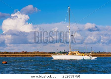 View Of A Boat At Sea In Hampshire, Uk