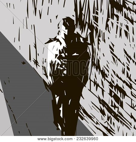 Scketch Outline Of A Man Walking Along The Street Past The House From The Upper Right Corner Of The