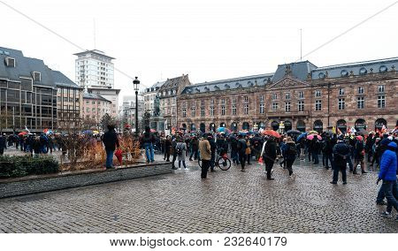 Strasbourg, France  - Mar 22, 2018: Gathering Of People At Demonstration Protest Against Macron Fren