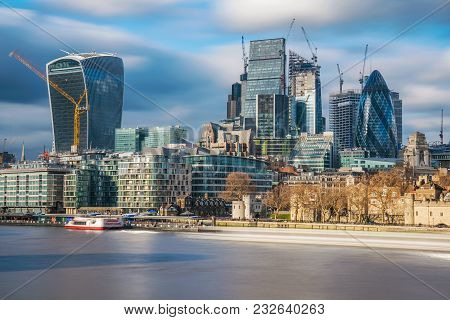London, United Kingdom -january 30: View Of The City Of London Financial District Skyline Along The