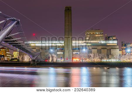 London, United Kingdom - January 17: This Is A Night View Of The Tate Modern Building And Millenium