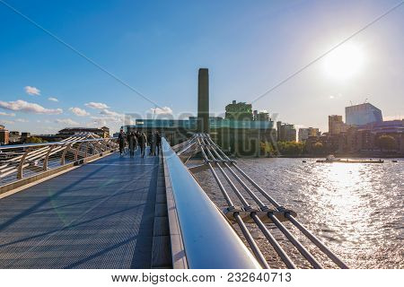 London, United Kingdom - November 06: View Of The Famous Millenium Bridge With The Tate Museum In Th
