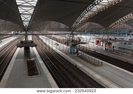 Leuven, Belgium - September 04, 2014: View Of The Leuven Railway Station. Is The Main Railway Statio