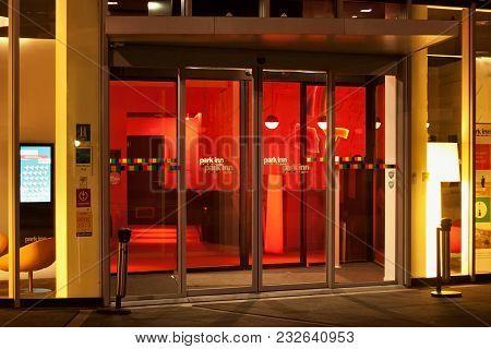 Leuven, Belgium - September 04, 2014: Night View Of The Entrance To The Hotel Park Inn By Radisson I