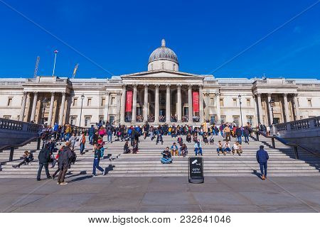 London, United Kingdom - October 06: View Of The Famous National Gallery Art Museum In Trafalgar Squ