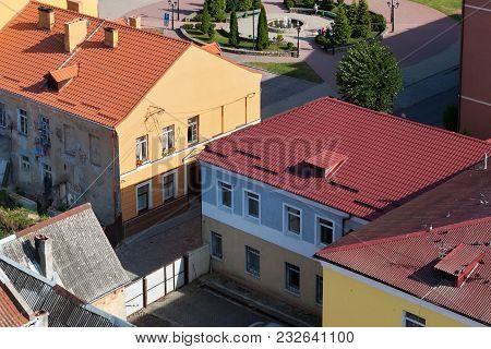 Aeral View Of The Old Historic Buildings In Center Of Pravdinsk, Kaliningrad Oblast, Russia. Pravdin