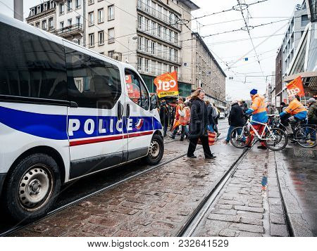 Strasbourg, France  - Mar 22, 2018: Police Van Surveillance Of People At Demonstration Protest Again
