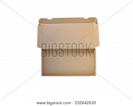 Open Wide Cardboard Box Flat Lay Top View Isolated On White