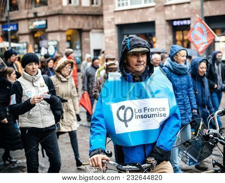 Strasbourg, France  - Mar 22, 2018: La France Insoumise Sign On Male Clothes At Demonstration Protes