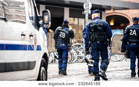 Strasbourg, France  - Mar 22, 2018: Police Force Surveillance Of Demonstration Protest Against Macro