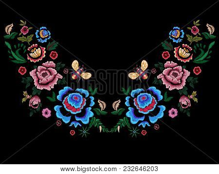Embroidery Folk Neckline Pattern With Flowers And Bee. Vector Embroidered Floral Patch For Clothing