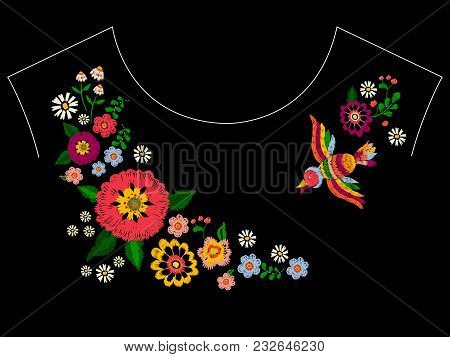 Embroidery Ethnic Neckline Pattern With Bird And Flowers. Vector Embroidered Floral Design For Fashi