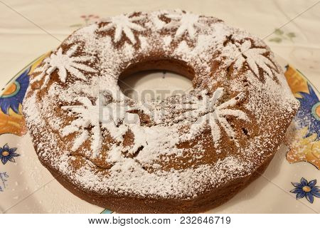 Sweet Cake Decorated With Icing White Sugar