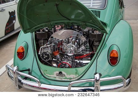 Nonthaburi, Thailand - March 10, 2018: Vw Owner Show Engine Room Of Vw Beetle 1967 Model In Volkswag