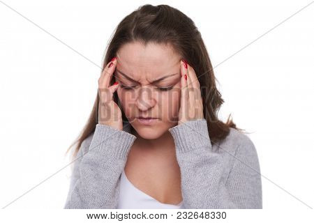 close-up of woman with migraine