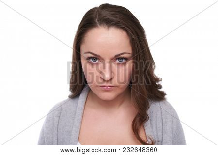 close-up of serious woman