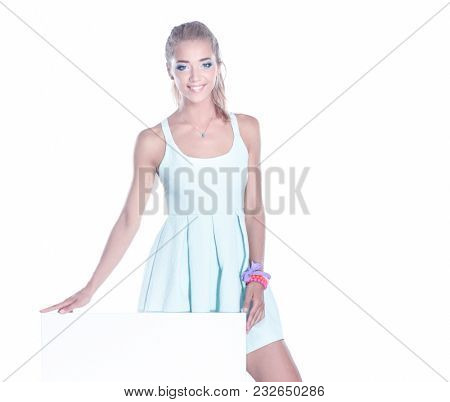 Attractive young woman full length portrait isolated on white background