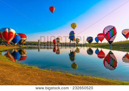 Singha Park International Balloon Festival 2018 In Chiang Rai,thailand Feb 16,2018.the Festival Will