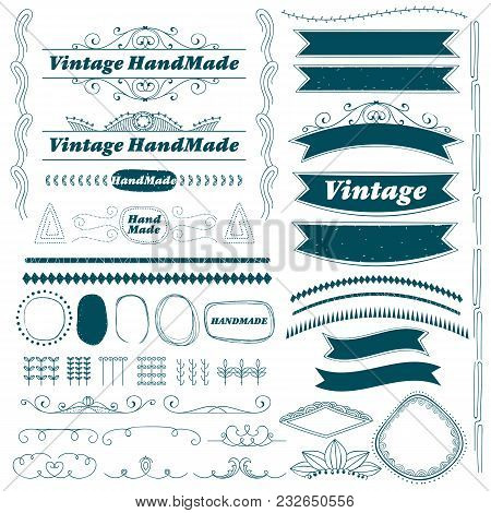 Vintage Hand Made Divider Lines Set Isolated Vector Illustration. Retro Collection Of Page Divider,