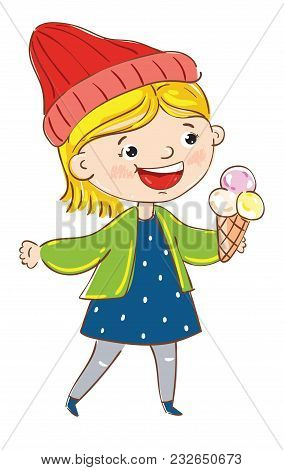 Happy Girl Cartoon Character Isolated On White Background Vector Illustration. Cute Young Woman With
