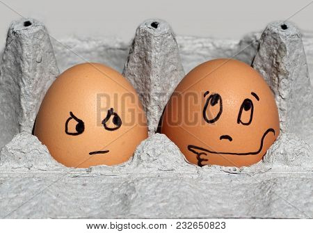 Brown Eggs With Faces. One Points,