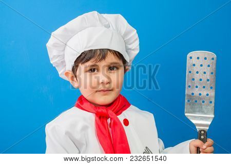 Cook, The little boy in a suit of the cook. adorable little boy in chef hat and apron smiling at camera in kitchen. boy in chef's hat