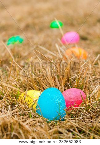 Colored Easter Eggs In Grass Forming A Trail To Find Nest Blue