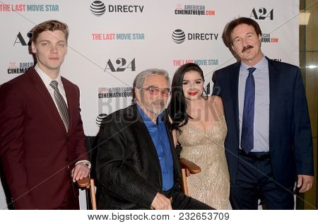 LOS ANGELES - FEB 22:  Levi Meaden, Burt Reynolds, Ariel Winter, Glenn Workman at the