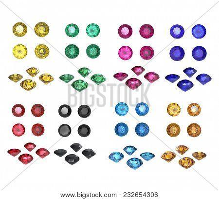 isolated on white background. Gemstone Collection Round gemstones .   Diamond. Jewelry background. 3d illustration