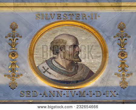 ROME, ITALY - SEPTEMBER 05: image of Pope Sylvester II or Silvester II was Pope from 2 April 999 to his death in 1003, basilica of Saint Paul Outside the Walls, Rome, Italy on September 05, 2016.