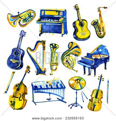 Watercolor Musical Instruments Set. All Kinds Of Instruments Like Piano, Saxophone, Trumpet, Drums A