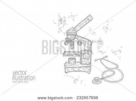 Microscope Science Medicine Business Equipment. Low Poly Polygonal Triangle White Monochrome Glowing